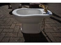 Traditional sink, bidet & toilet with all gold taps etc & mixer bath tap