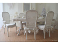 *** WOW *** UNIQUE & BEAUTIFUL !! French Antique Shabby Chic Dining Table & 6 Chairs with Deco Bows