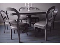 Shabby Chic Wood Italian Style Dining Table with 6 Chairs Velvet CHOOSE YOUR COLOR AND FABRIC