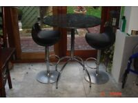 John Lewis marble/stone bar table and two hydraulic bar stools