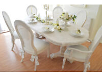 *** WOW *** !!! SALE !!! UNIQUE !!! French Antique Shabby Chic Dining Table & Six Chairs with Bows !