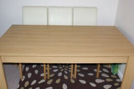 Dining Table Brand New Condition 6 Leather Chairs, Solid Oak