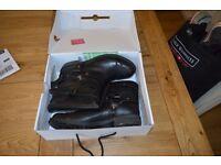 Ladies 'Anna Bork' Black Leather Buckled Biker Boots