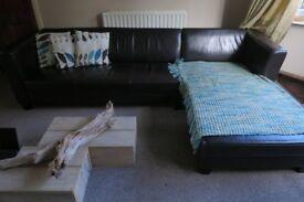 Sofa dark brown, Corner or 3 plus 2 seater