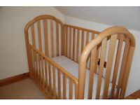 Solid wood cot and new mattress for sale