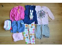 12-18 months Girl's bundle ONE 2 leggings, 2 shorts, 5 tights, 1 top, 1 cardigan, 1 jumper £19