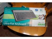 logitech ultra flat keyboard usb never used came with new computer box tatty as photo