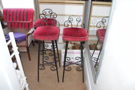three iron heavy bar stools
