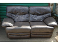 2 seater / recliner sofa / brawn leather
