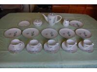 Sango Bamboo Pattern Bone China Tea/Coffee Set of Cups, Saucers, Plates, Teapot, Sugar & Creamer.