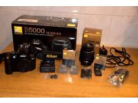 Nikon D 5000 camera with 18-55 lens, boxed Kit.