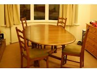 Extending Wooden Dining Set (Table and Four Chairs)