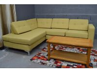 Ex display Brooklyn Corner Sofa Retro Style In Happy Green