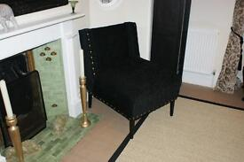 Black Chenille chair with studs