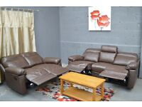 EX DISPLAY Paulo Leather Recliner Large and Regular Sofas Chocolate.3+2