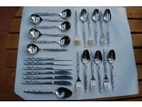 Viners 'Satin Leaf' and 'Unknown 3' Stainless Cutlery, All in Very Good to Excellent Condition.