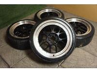 "17"" Alloy wheels 4x100 Alloys Polo Caddy Golf Corsa Civic Mx5 Eunos BBS style"