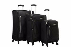 "McBrine A188E-3-BK Eco Friendly 3 Piece Soft Sided Luggage on Spinner Wheels 28"", 24 "" and 20 "" Expandable Uprights, Bla"