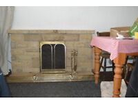Decorative fireplace bricks of Cotswold stone.
