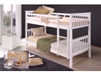 🔴🔵Brand New🔴🔵 White Chunky Pine Wooden Bunk Bed-Single 3FT Wooden Frame White Wood With Mattress