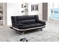 NEW BLACK LEATHER SOFA BED ONLY £199 RRP £350