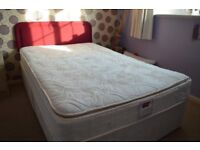 4ft DOUBLE BED WITH AIRSPRUNG KNARESBOROUGH PILLOW TOP MATTRESS AND HEADBOARD.