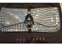 Ted Baker 100% leather silver grey alligator effect clutch evening bag with dust bag