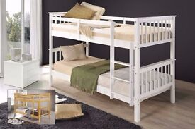 White or Walnut colour 3FT Convertible White Chunky Pine Wood Bunk Bed w Range Of Mattress