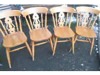 4 good quality solid pine kitchen dining chairs