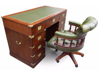 MILITARY CAMPAIGN STYLE LEATHER TOP PEDESTAL DESK+CAPTAINS CHAIR