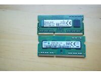 2x 4GB RAM replacement (Samsung, Kingston) for various laptops (originally used with Lenovo)