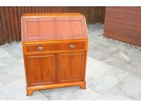 YEW WOOD BUREAU STUDY WRITING DESK & CHAIR YEW WOOD QUALITY ENGLISH FURNITURE