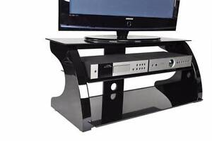 TV Stand Cabinet Unit Furniture - High Gloss Black, Glass Shelves Lansvale Liverpool Area Preview