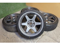 """Genuine Wolfrace 17"""" Alloy wheels & Tyres 4x108 Ford Fiesta Focus Rota style"""
