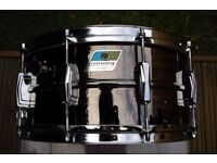 """Ludwig 419 seamless Black Beauty snare drum 14 x 6 1/2"""" - '79-81 - Blue/Olive, Chicago"""