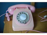 Funky Pink Retro Dial Phone - Full working order
