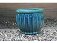 Green & Blue glazed 40cm planter