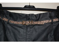 Warehouse black feaux leather skirt with belt size 12