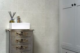 6 Pack of Stone Grey Tile Effect PVC Wall Panels for sale. 2.4m High, 60cm wide, 10mm Thick