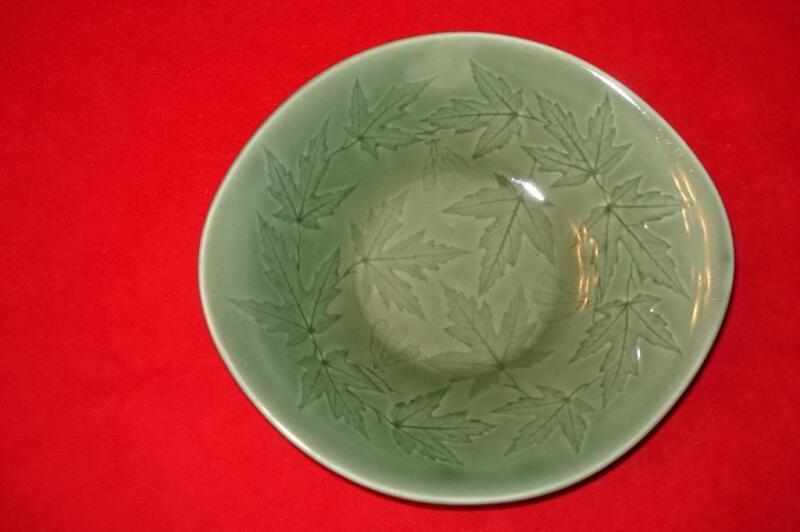 Harker Harkerware Windsong Sherwood Green Incised Leaves Maple Cereal salad bowl