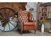 Chesterfield Leather Wingback Armchair Recliner Brown