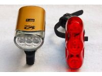 Cateye Bike Cycling LED Light Set Front HL-EL135 + Rear Rapid3 Rechargeable Batteries Included