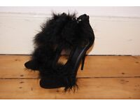 Black Feather Stiletto Heals-Size 4 (More like 5) *Brand New* Never Worn