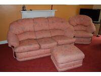 3 Piece Suite & Storage Footstool