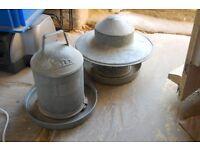 Galvanised chicken feeder and water feeder