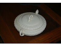 Vintage Burleigh ware white vegetable dish with lid