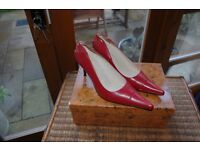 Women's Red Leather Shoes Designer