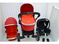 Icandy Peach TOMATO RED PRAM PUSHCHAIR CARRYCOT & MAXI COSI CAR SEAT