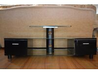 Glass Top Black TV Stand