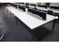 6 OFFICE CHAIRS AND 6 WHITE CLUSTER DESKS 1600mm x 800mm,